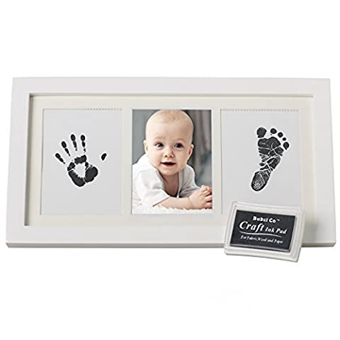 BEAUTIFUL BABY HANDPRINT & FOOTPRINT FRAME KEEPSAKE KIT for Boys, Girls, & Infants, Babyprints Paper & Ink Pad, 4 x 6 Photo Window, Premium Wood Frame, Decor for Room Wall, Amazing Baby Shower (The Dazzle Picture Frames)