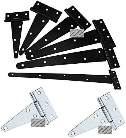Door hinge 10Pcs//Lot 2 3 4 5 6 8 10 12 Black White Zinc Tee T Strap Hinge For Wooden Fence Shad Gate Barn Color : Black, Size : 5 Inches