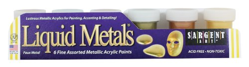 Sargent Art 66-5423 6-Jar Metallic Acrylic (Acrylic Gold Jars)