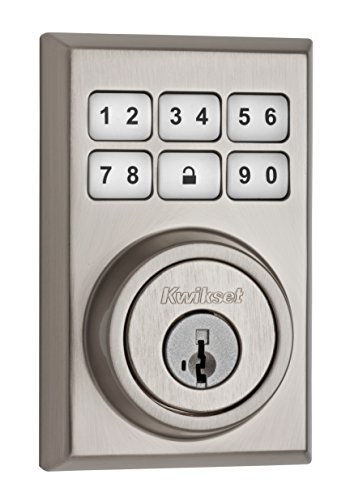 Kwikset 99090-020 SmartCode Electronic Deadbolt featuring Smart Key, Satin Nickel