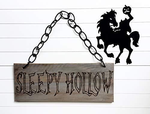 Funlaugh Halloween Sleepy Hollow Halloween Decor Halloween Photo Prop Spooky Decor Woodburned Sign Wooden Sign Wall Art Living Room Bedroom Decor Housewarming -
