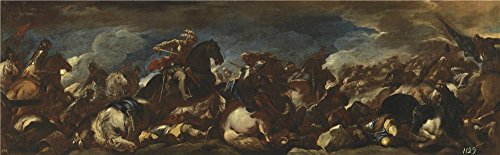 'Giordano Luca La Batalla De San Quintin 1692 93 ' Oil Painting, 16 X 52 Inch / 41 X 132 Cm ,printed On Polyster Canvas ,this Beautiful Art Decorative Prints On Canvas Is Perfectly Suitalbe For Bedroom Decoration And Home Gallery Art And Gifts (Giordano Wines compare prices)