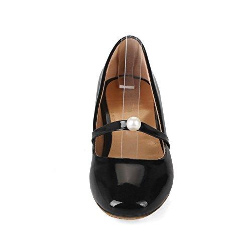 Pelle Donna Basso Nero Puro VogueZone009 Ballet Flats Quedrata Tacco Maiale di Punta 4ntnfwx
