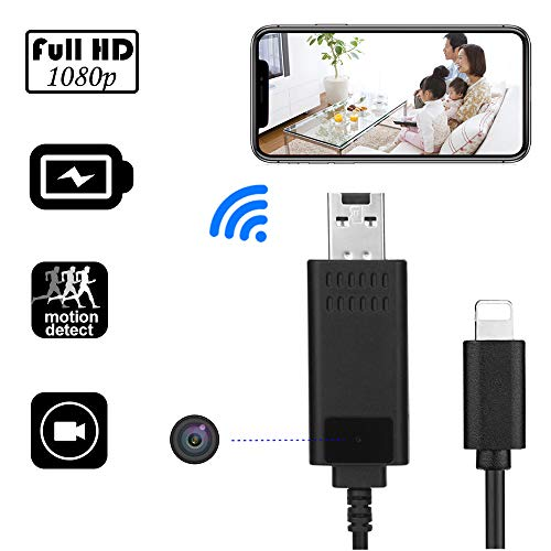 WiFi Mini Hidden Camera, Wireless HD 1080P USB Charger Camera Nanny Hidden Cable Video Cam with Remote View/Motion Detection/Loop Recording for Home Security Surveillance