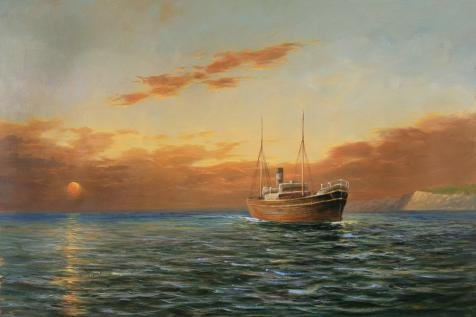 - The High Quality Polyster Canvas Of Oil Painting 'Sunset Seascape Of A Steamship On The Ocean' ,size: 12x18 Inch / 30x46 Cm ,this Replica Art DecorativeCanvas Prints Is Fit For Kids Room Gallery Art And Home Decor And Gifts