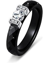 Black Ceramic S925 Sterling Silver Bridal Ring for Women Wedding Engagement Ring