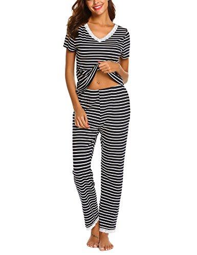 Ekouaer Womens Striped Sleep Shirt Long Pants Pajama Set(S-XL) (Pajamas Shirt Pants)
