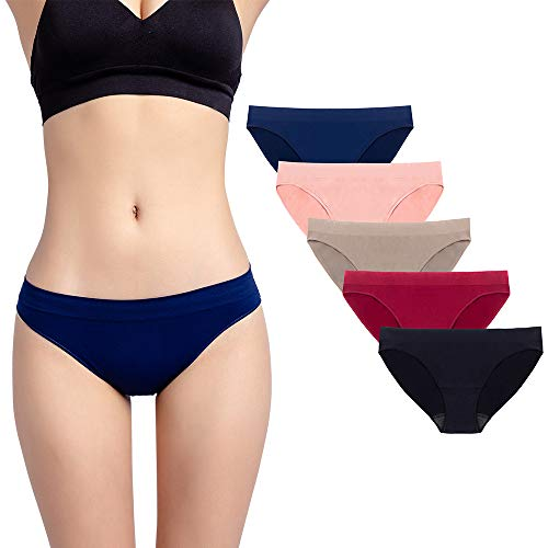 Ruxia Women's Seamless Hipster Panties Comfortable Underwear Stretch Bikini Panty 5 Pack L