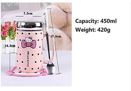 Cvxgdsfg Hello Kitty Dibujos Animados Botella de Agua de la Taza de cerámica 450ml Mujeres Niñas montañas Botella Cuchara Tapa se Puede Utilizar como un Espejo