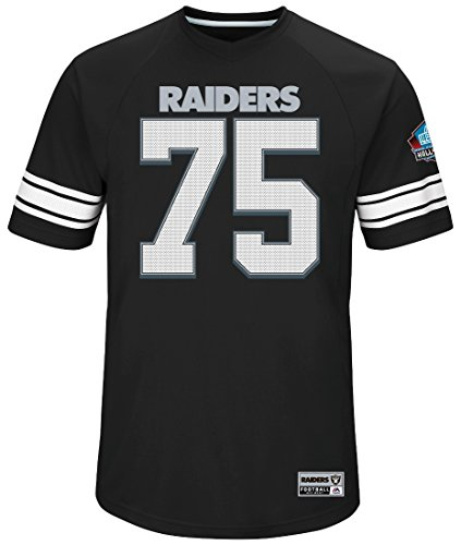 Howie Long Oakland Raiders Majestic Nfl Mens  Hof Hashmark 3  Jersey Shirt