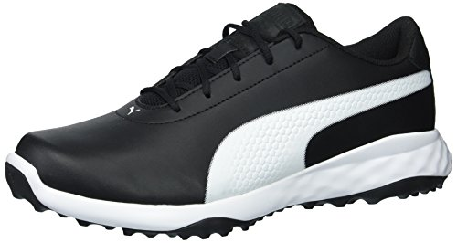 (PUMA Golf Men's Grip Fusion Classic Golf Shoe, Black/White, 12 Medium US)