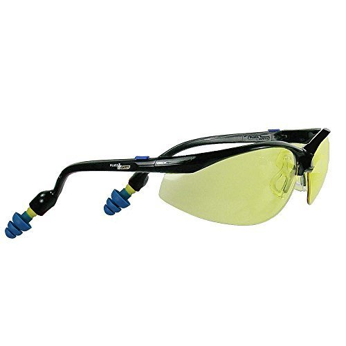 629c033047b PlugsSafety PSGLS01-PP Polycarbonate Hard Coated Safety Glasses with PermaPlug  Earplugs