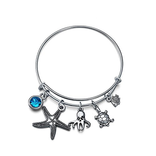 tarfish Beads Expandable Wire Bangle Charm Bracelet Adjustable for Women Teens Gift (Nautical Star Charm)