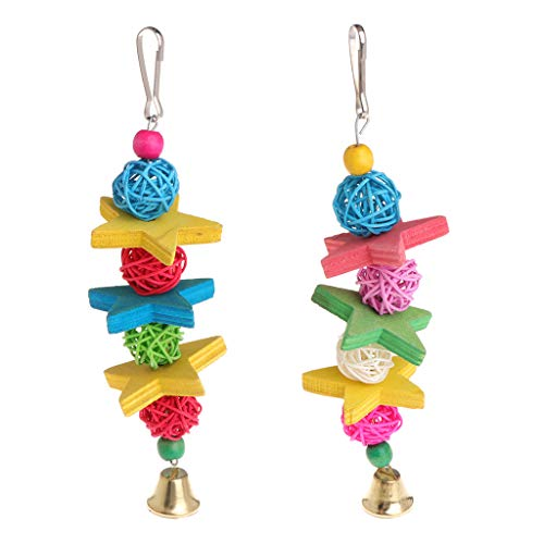 (Oranmay Parrot Toy Colorful Wood Star Rattan Ball Birds Parakeet Decorative Hanging Cage )
