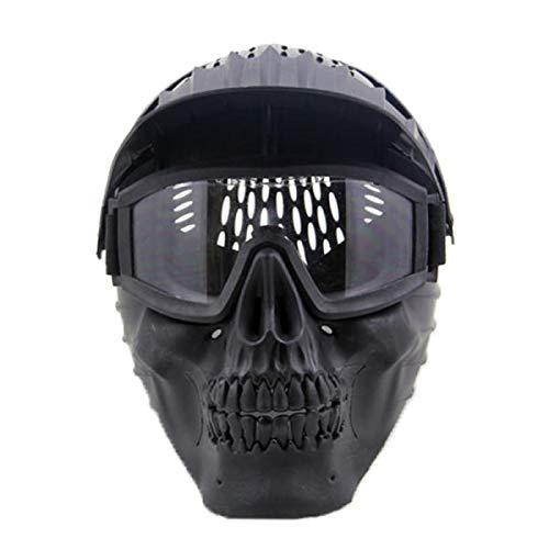 Skeleton Face Mask - Skeleton Mask Half Face - Skull Face Mask W/Goggles For CS Skull Paintball War Game - Black (Motorcycle Face Mask Skeleton) ()