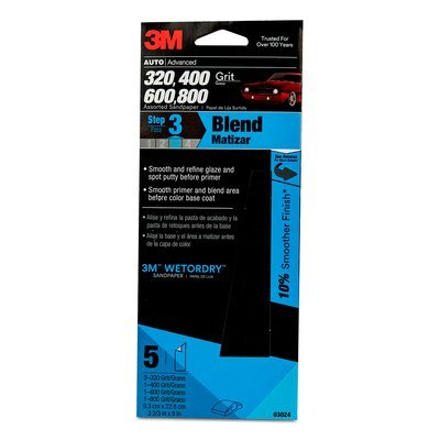 3M(TM) Wetordry(TM) Sandpaper, 03024, Assorted Grits, 3 2/3 inch x 9 inch, 5 sheets per pack