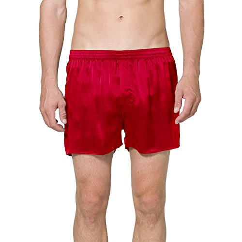 Intimo Men's Classic Silk Boxers, Red, Large by Intimo