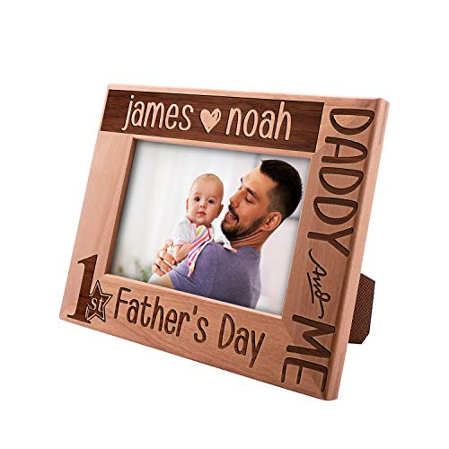 Be Burgundy Personalized Picture Frame Gifts for Dad, 1st Father's Day, Funny 4x6 5x7 8x10, Custom Engraved Frame, Horizontal Vertical Options, New Dad Gifts -