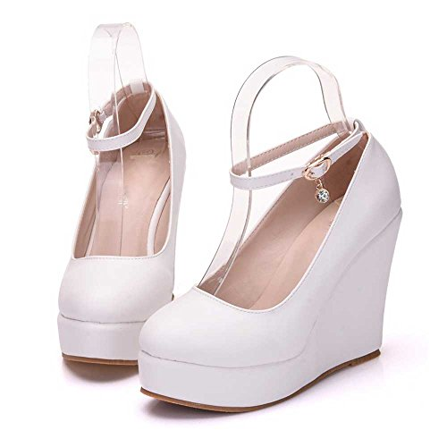 Bianco 8 Cunei Scarpe Scarpe Donne Fashion Tacco Da 10 Da Delle Sposa Zeppe Cm Sposa Tacchi Altezza Scarpe Pu Rotonde Elegant nAHSWwZq