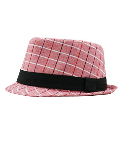 RuggedButts Infant / Toddler Boys Red & White Plaid Fedora w/ Black Band - Red - 12-24m (M) (Red And Black Fedora Hat)