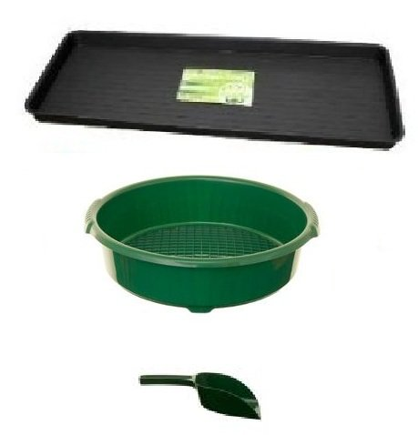 GROW BAG TRAY +STRONG LARGE GARDEN SIEVE PLASTIC + FREE SCOOP MADE IN UK