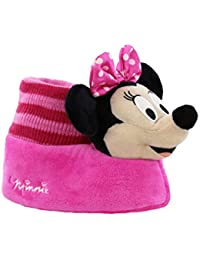 Disney Toddler Girls Plush 3D Minnie Head Sock Top Slippers
