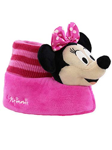 Minnie Mouse Disney Toddler Girls Plush 3D Minnie Head Sock Top Slippers (9-10 M US Toddler, Pink) for $<!--$19.99-->