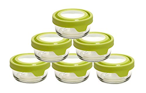 Anchor Hocking TrueSeal Glass Food Storage Containers with Lid, Lime Green, 1 Cup (6 Pack)