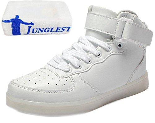 [Presente:peque?a toalla]Blanco EU 36, Negro Zapatillas 7 de Mujeres Hombres Light LED High JUNGLEST? Unisex Blanco