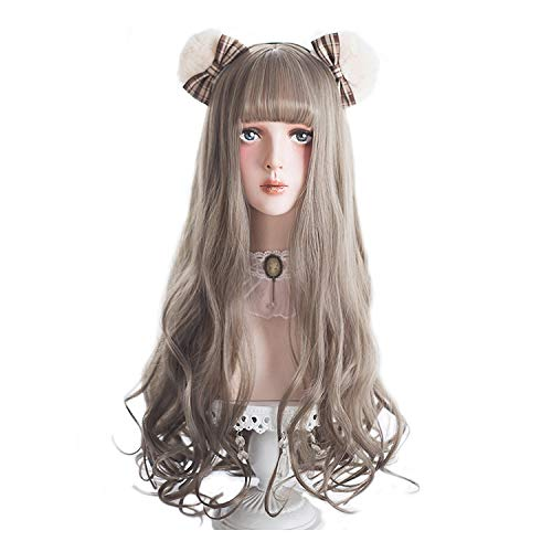 Long Wavy Grey Wig Bangs - Gray Wigs for Women Cosplay, Lolita Fashion Style Synthetic Hair with Wig Cap -