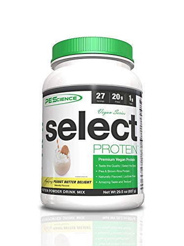 PEScience Select Vegan Protein Powder, Peanut Butter, 27 Serving, Pea and Brown Rice Blend