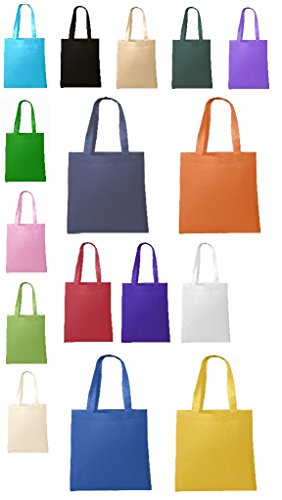 BagzDepot Non-Woven Promotional Budget Friendly Wholesale Tote Bags (50, ASSORTED-MIX)