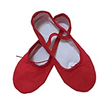 COMMENCER Ballet Slippers Leather Sole for Women Classic Split-Sole Canvas Dance Gymnastics Yoga Shoes
