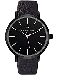 WRISTOLOGY Olivia Womens Lines Black Boyfriend Watch Black Leather Band