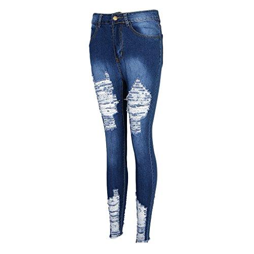 Baoblade Femme Jeans Dchirs Pantalon Longue Taille Haute Denim Casual Elastique S - 3XL Bleu
