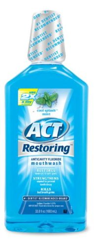 Act Restoring Mouthwash  Cool Splash Mint   33 8 Ounce Bottles  Pack Of 3