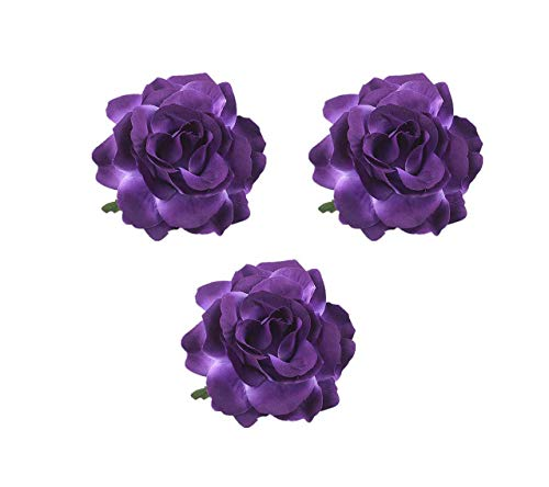Lovefairy Beautiful Rose Flower Hair Clip Pin up Flower Brooch for Party Travel Festivals (3 Pcs Dark Purple)