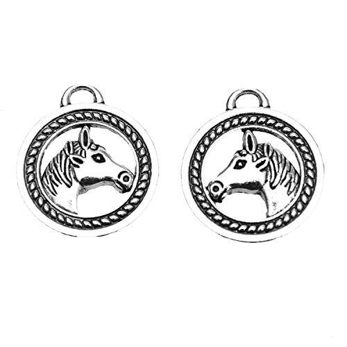 Monrocco 10pcs Vintage Horse Charm Horse Head Charms DIY Jewelry Charm Antique Silver 28x25mm.