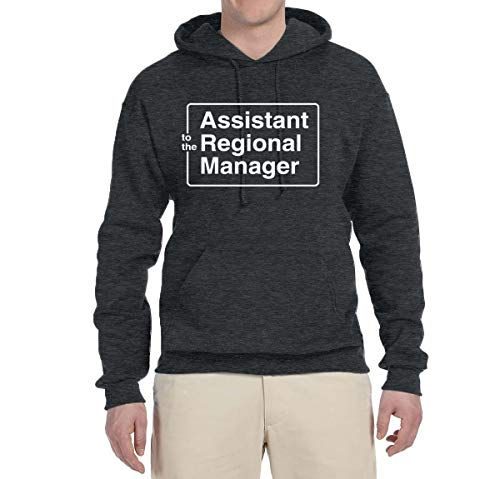 Sweatshirt Hooded Assistant (Wild Bobby Assistant to The Regional Manager Office Quote | Mens Pop Culture Hooded Sweatshirt Graphic Hoodie, Heather Black, Medium)