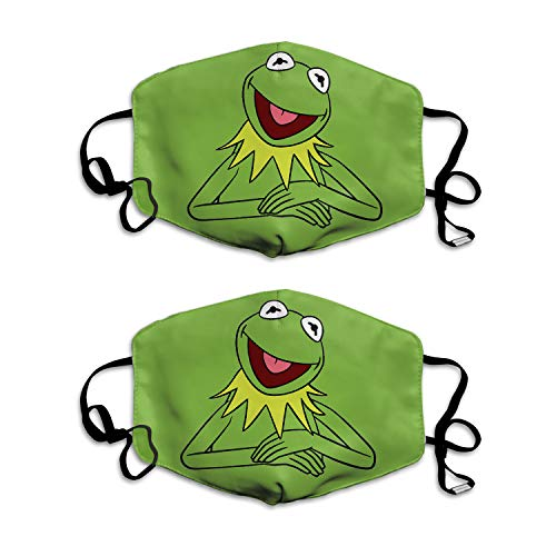 odbo Cute Green Frog Reusable Face Bandanas for Kids, Children Breathable Seamless Mouth Covering with Filter Pocket 2 PCS