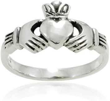 Original Rose Quartz Gemstone Irish Claddagh Silver Ring Friendship Love Band
