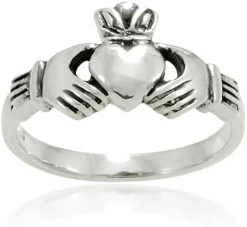 925 Sterling Silver Small Claddagh Friendship and Love Band Ring