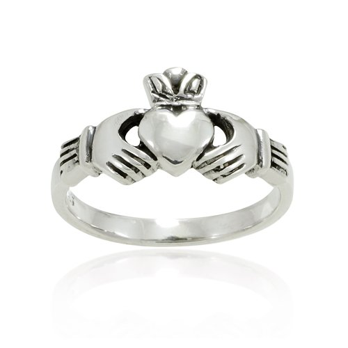 925 Sterling Silver Small Claddagh Friendship and Love Band Ring - Size 6