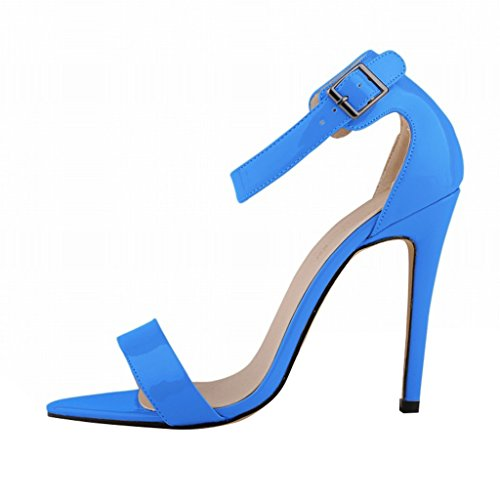 Scarpe Alto Wotefusi Toe Alla Con In Pelle Tacchi Tacco A Blu Cinturino Bandage Sandali Women Caviglia Brevetto Open Summer Spillo qFwOrqZ