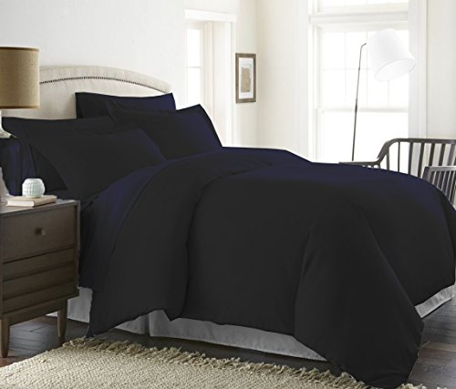 Bed Alter 1000 Thread Count Duvet Cover Set 3 Piece Zipper & Corner Ties 100% Egyptian Cotton Hypoallergenic (1 Duvet Cover 2 Pillow Shams) (Twin/TwinXL, Navy Blue)