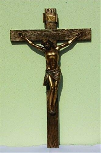 (Ky & Co YesKela 30.25 Inch Jesus on Crucifix Bronze Finish Wall Statue Figurine)