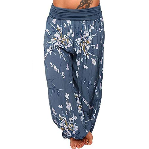 ZEFOTIM Women Plus Size Print Loose Casual Elastic Pants Cropped Full Length Trousers (2XL,A-Navy)