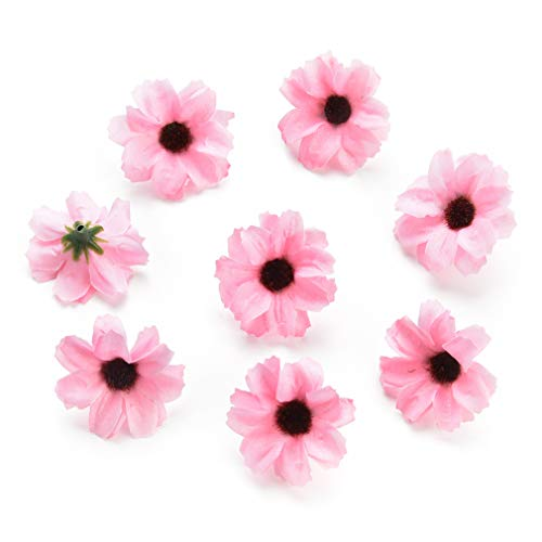 Silk Artificial Flowers Fake Flower Heads in Bulk Wholesale for Crafts Shiny Daisy Head Wedding Home Decoration Party Decor DIY Scrapbooking Chrysanthemum Accessories 50pcs (Pink)
