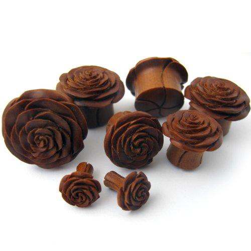 Double Flare Gauge Saba Rose Bud Wood Plugs 25mm WD016 Urban Body Jewelry Pair of 1 Inch