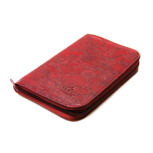 PUEEN 168 Nail Stamping Plates Synthetic Leather Holder Case Organizer in Red Rose Lace Pattern-BH000005